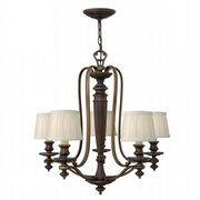 Dunhill 5 Light Chandelier in Royal Bronze with Off White Pleated Shades - HINKLEY HK/DUNHILL5
